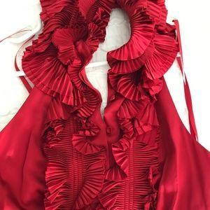 Red silk BCBG party dress